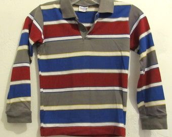 A Boy's Vintage 80's,Long Sleeve Striped Polo Shirt By OUR GANG.M