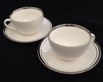 White Butter Fly Ceratech Designed by England Set of Two Tea Cup and Saucers