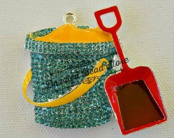51 x 55mm beach SAND BUCKET with shovel RHINESTONE pendant