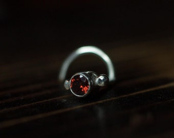 Sterling Silver Red Garnet Nose Stud Screw - Made to Order