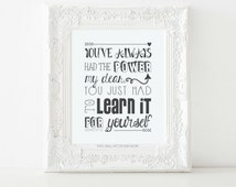 Wizard of Oz Print- Insprirational Quote, Digital Download