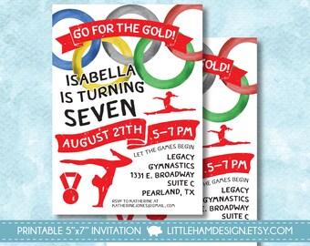 Printable Olympic Gymnastics Birthday Party Invitation, Let the Games Begin Watercolor Girl Birthday Invite [digital file 5x7]