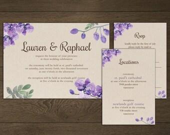 Printable Wedding Invitations - Custom Digital Wedding Invitation - DIY Rustic Floral Wedding Invitation Stationary - Kiss Collection