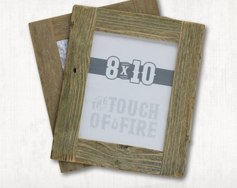 Rustic Weathered Barn Wood Frame,  Reclaimed Wood Picture Frame  8 x 10 and 5x7 with plexiglass