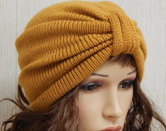 Knit Womens Turban, Knitted Full Turban, Retro Style Beanie, Handmade Winter Turban, Warm Headwear,  CHOOESE COLOUR and SIZE
