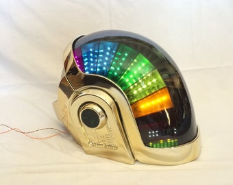 DAFT Punk DJ PARTY helmet Manuel Gold Chrome, Super high quality, Rare collectible, With Full LEDs Kit !