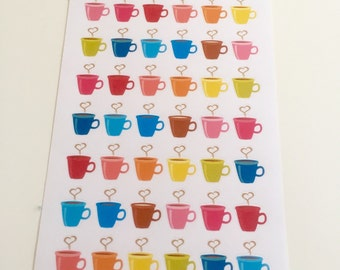 I07 || 42 Colorful Coffee Mug Stickers