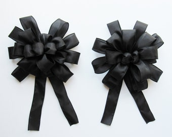 Wired Satin Bow - Black - Satin Bow - 18 or 20 Loops