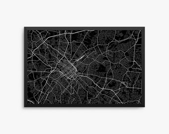 Charlotte City Street Map, Charlotte North Carolina USA, Modern Art Print, Charlotte Decor, Charlotte Map, Charlotte Poster, Charlotte Gift