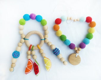 Rainbow Baby Toy Baby gift Teether Baby teether Teething Toy Nursing Necklace Teething Necklace Baby shower gift Baby toy Gift for baby