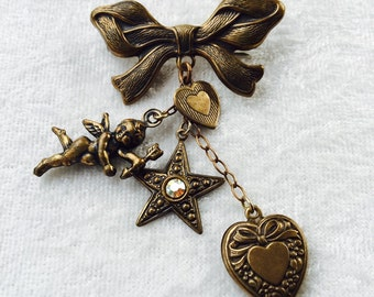 TIED with a BOW - Hearts and Cherub Cupid Pin