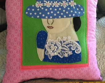 Pretty Lady Pillow in blue
