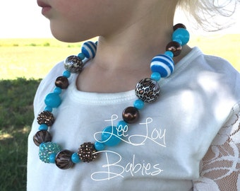 Blue Chunky Bubblegum Necklace, Girl's Necklace, Birthday Necklace, Children's Necklace, Girls Leopard Necklace, Girls Fashion Necklace