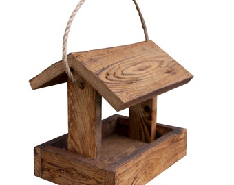 Hanging Barn Wood Rustic BIRD Feeder House Amish Handcrafted Made in USA