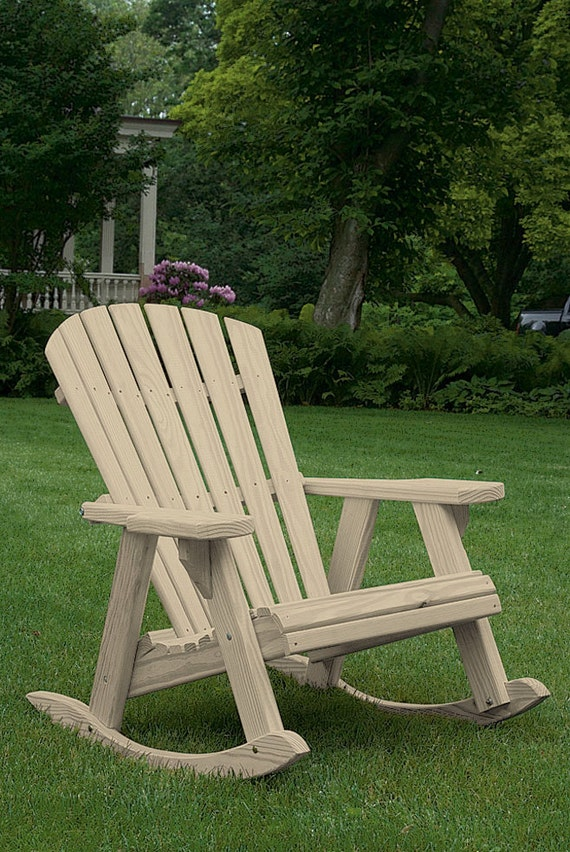 Pine Fanback Outdoor Adirondack High Comfort Rocking Chair