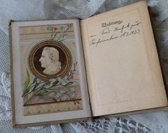Antique small poetry * forget-me-not * 1926 Germany Bohème french boudoir shabby chic