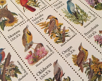 State Flowers and Birds 20-cent Postage Stamps
