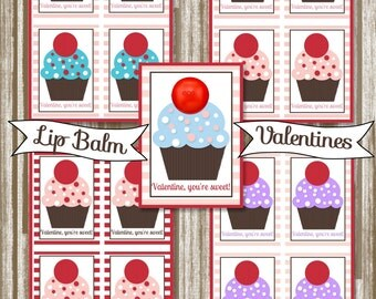 Cupcake EOS Lip Balm Valentine Printables--Instant Digital Download
