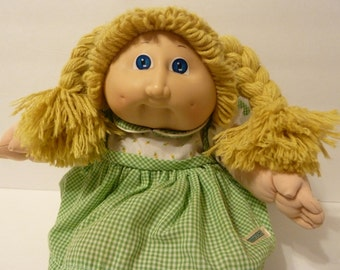 Cabbage Patch Girl Doll, Yellow Blonde Pigtails, circa 1978 - 1982