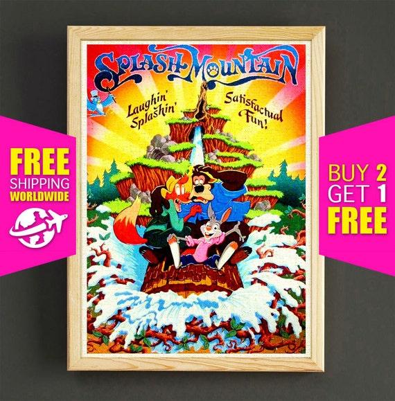 Disney Poster Disneyland Vintage Splash Mountain Disneyland