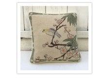 Vintage Needlepoint Bird Pillow - Throw Pillow - Small Decor Pillow - Handstiched Pillow