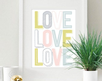Pastel LOVE Sign Valentine's Day Love Letters 8x10 inch Poster Print - P1166
