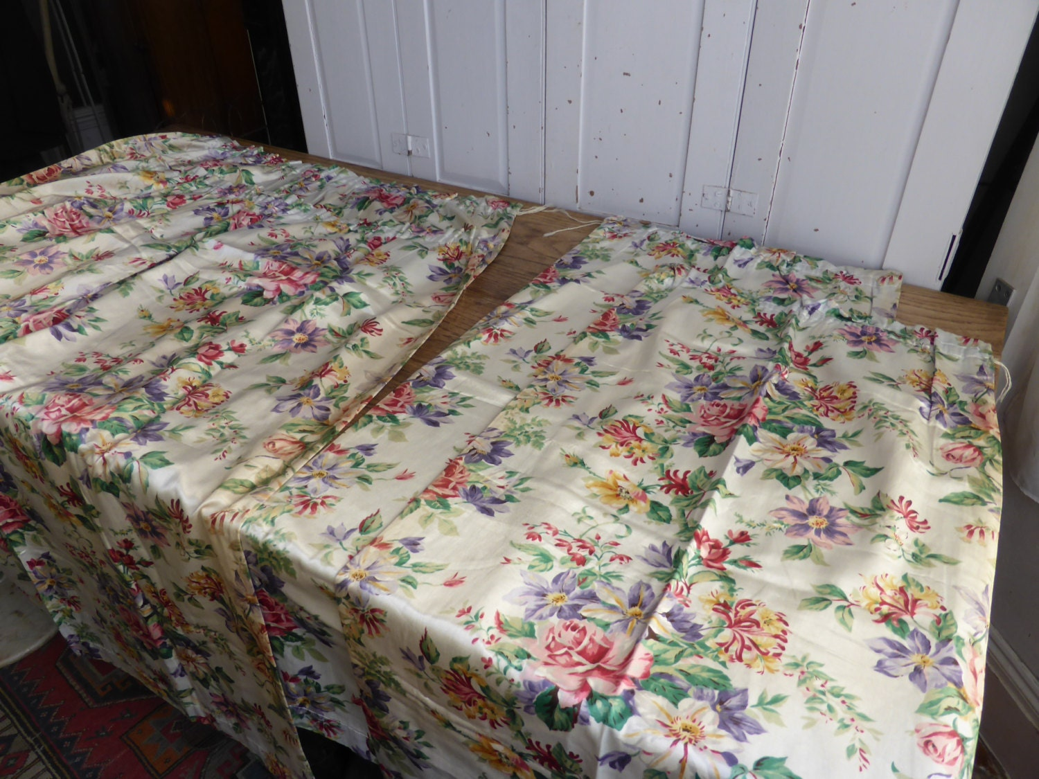 Two pairs vintage english floral print curtains for English floral curtains
