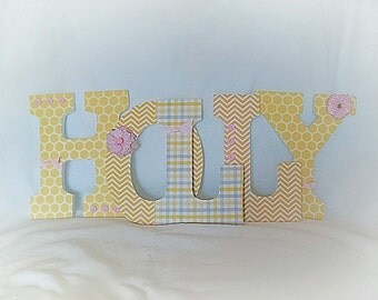 Girls nursery letters, custom hanging letters, wall letters for nursery, yellow nursery letters
