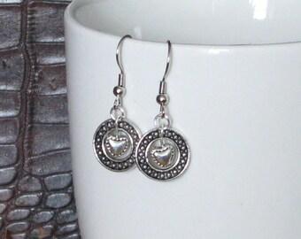 Silver Heart In A Ring Earrings