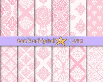 Damask wedding paper,paper digital damask,damask paper digital,pink damask digital,pink damask   paper,damask scrapbook,damask background