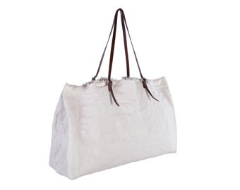 Big White Canvas Tote Bag-FARMERS MARKET Tote-Oversized Shulder Bag
