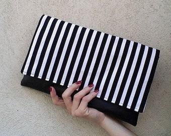 Striped clutch, black and white, nautical clutch bag, summer clutch, pochette