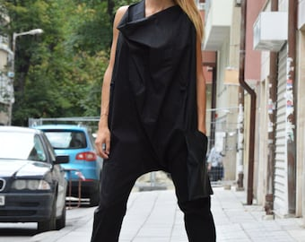 Black Maxi Jumpsuit With Leather Pocket, Casual Drop Crotch, Cotton Union Suit, Zipper Jumpsuit by SSDfashion