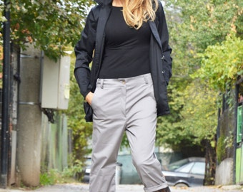 New Light Grey Cotton Wide Pants, Extravagant Loose Pants, Women Plus Size Clothing, Trousers With Tulle by SSDfashion