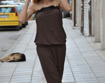 Extravagant Low Bottom Loose Jumpsuit, Sleeveless Brown Cotton Jumpsuit, Party Drop Crotch Jumpsuit by SSDfashion