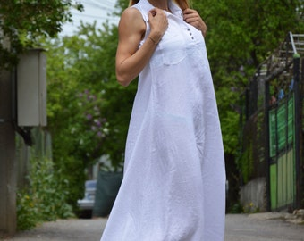 Linen Maxi Dress, Long Dress, Extravagant Summer Dress, Plus Size Dress, Oversize Casual Dress, Elegant White Kaftan by SSDfashion