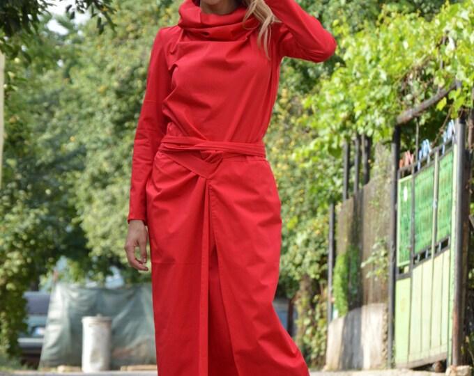 Extravagant Open Back Dress, Maxi Fashion Cotton Dress, Turtleneck Red Dress, Fashion Long Dress By SSDfashion