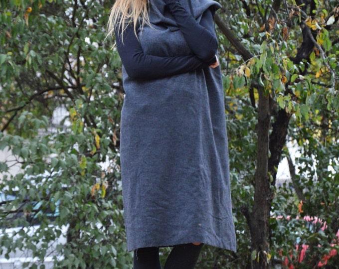 Womens Dark Gray Vest, Wool Maxi Vest, Asymmetryc Sleeveless Coat, Cashmere Loose Vest By SSDfashion