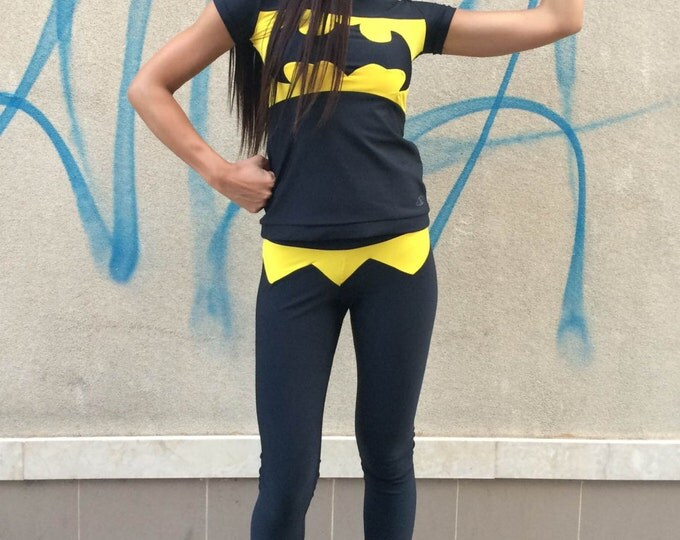New Workout Batman T-shirt, Womens Tight Tee, Ultra Soft Light Casual Sport Wear, Design Yoga Top By SSDfashion