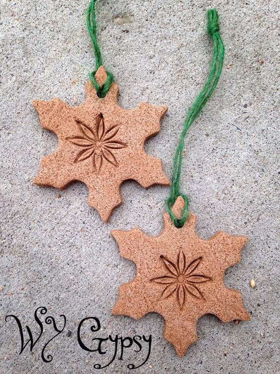 Lot of 5 Handmade Yuletide Winter Solstice Pagan Wiccan Salt & Spice Snowflake Stars Ornaments