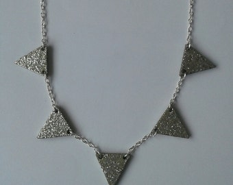 Silver Glitter Bunting Necklace