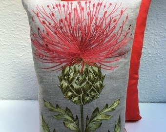 Handmade Embroidered Thistle Cushion Cover - Red