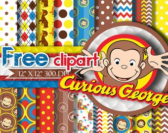 Curious George Paper : CURIOUS GEORGE DIGITAL Paper-Curious George Clipart, Curious George ClipArt, Curious George digital paper