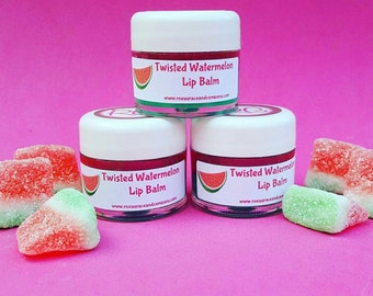 Lip Balm! All Natural Twisted Watermelon Lip Balm! Sheer, Glossy and Moisturizing. Handmade with Shea Butter and Coconut Oil.