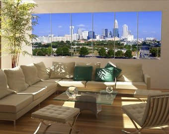 6 panels / boards Charlotte, North Carolina Large panorama panoramic canvas wall art art
