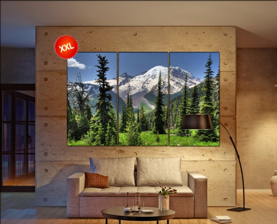Mt Rainier large canvas wall art  decor print Mountain Mt Rainier  large  living room  Office Decor