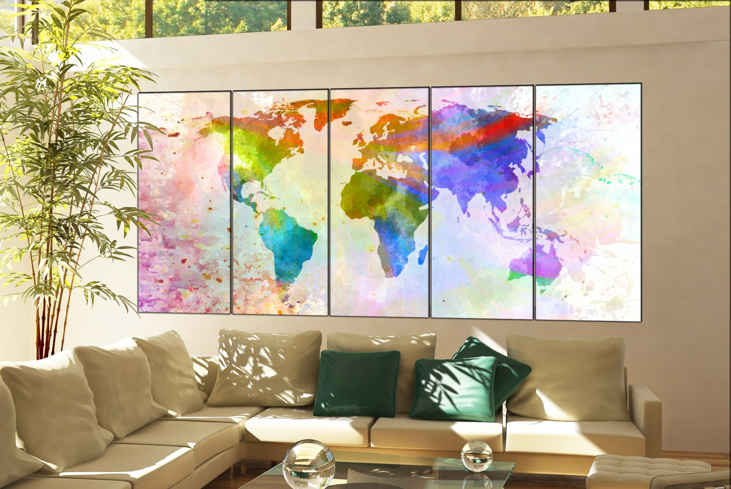 Office decor world map print on canvas wall art office decor world office decor world map print on canvas wall art office decor world map print artwork large office decor world map home decoration 5 panel gumiabroncs Gallery