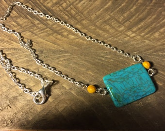 Turquoise and golden yellow necklace on silver chain. Turquoise necklace, Silver necklace, gifts for her, one of a kind necklace.