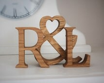 Personalized gift for couples - Unique Wooden initials in oak
