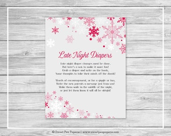 Winter Wonderland Baby Shower Late Night Diapers Sign - Printable Baby Shower Late Night Diapers - Winter Wonderland Baby Shower - SP115